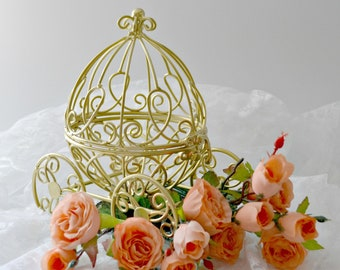 Gold Miniature Cinderella Carriage, Fairytale Wedding Cake Topper, Small Gold Cinderella Carriage