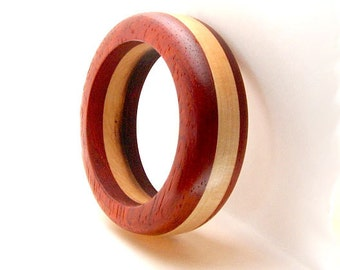 Handmade Wood Bangle Bracelet  Padauk Wood and Maple Wood