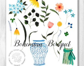 Watercolor Clipart - Bohemian Bouquet  - Flower Collection -21 Image Files, Handpainted, Detailed Artwork, Greeting Cards, Flowers