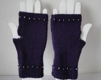 violet knit handwarmers, merino wool mittens, bead trim mitts, texting gloves, fingerless mitts, holiday gift for her, wool wristwarmers