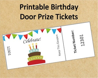 Printable Birthday Party Door Prize Tickets~Up to 40 Tickets!~Instant Download Birthday Raffle Tickets~Birthday Digital Game~Door Tickets