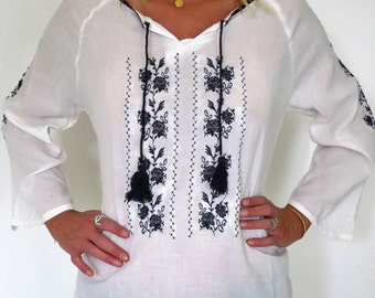 Embroidered cotton tunic