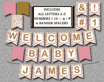 Pink and Gold Baby Shower Banner, Printable Includes ALL LETTERS A-Z and Numbers, dot Girl Baby Shower Banner Decor Instant Download - 004-A