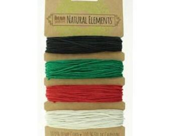 Beadsmith Hemp Cord 4 Primary Colors 20lb/1.0mm
