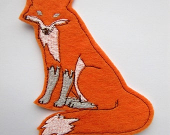Orange fox machine embroidered iron on felt patch applique
