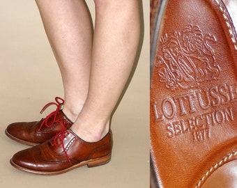 Vintage women's LOTTUSSE brown leather oxford shoes