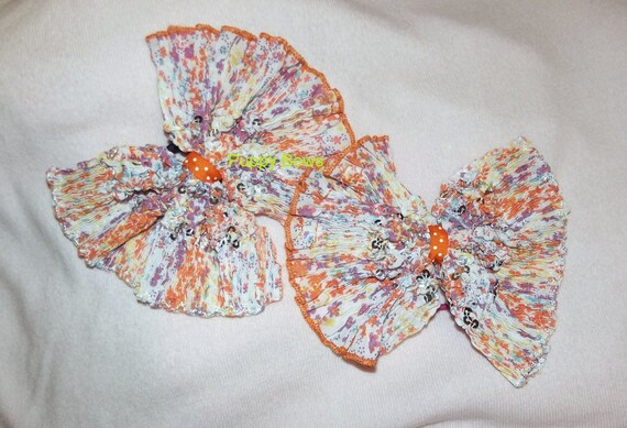 Becky Bows ~ recycled  Hand crafted  BIG hair bow Women or Girls giant orange purple butterflies pigtail pair