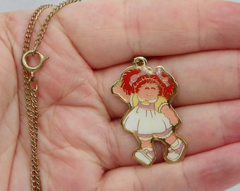 Cute Vintage 1983 Cabbage Patch Kids Enamel Necklace , Cabbage Patch Pendant , Cabbage Patch Doll  , Children's Jewelry , 1980's Toy