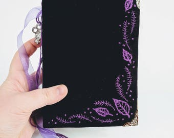 Hand Embroidered Book of Shadows - Grimoire reclaimed materials one of a kind OOAK spell book book of spells handmade journal witchcraft
