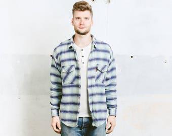 Flannel Aztec Shirt . Southwestern Jacket 90s Grunge Vintage Shirt Long Sleeve Oversized Shirt Blue . size Large