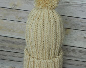 Hand Knit Winter Hat for Toddler Boy or Girl in Beige