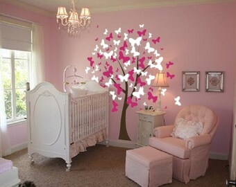 Large Wall Tree Baby Nursery Decal Butterfly Cherry Blossom 1140 (7 feet tall)