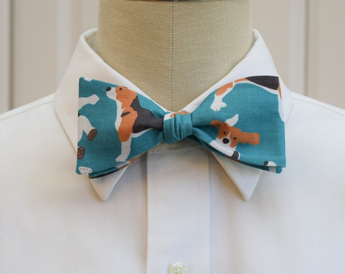 Men's Bow Tie, beagles bow tie, hounds bow tie, beagle lover gift, organic cotton bow tie, dog lover gift, teal bow tie, self tie bow tie,