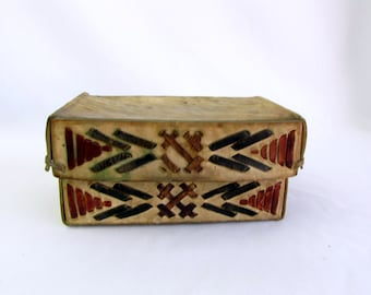 Vintage Handcrafted Leather Rawhide Box | Natural | Hand Dyed | Woven Design | Keepsake Box