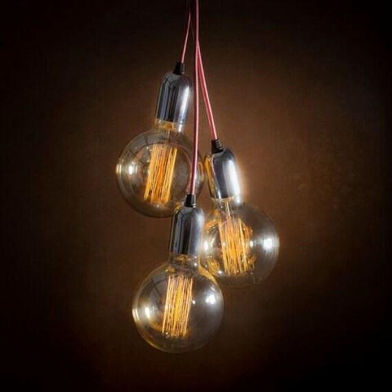 Vintage Chrome Pendant Light Cluster Edison Bulbs Ceiling