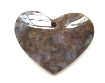 Superb 1 Piece Heart / Love Iron Tiger Eye Agate Pendant Bead  J11B879