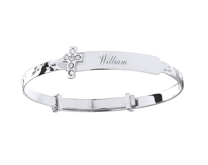 9ct White Gold Cz Cross Baby Identity Bangle - Personalised Name & Message