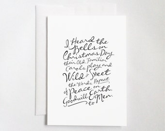 """I Heard the Bells On Christmas Day (5x7"""" Flat or Folded Card) 