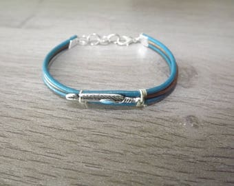 BRACELET leather turquoise and copper and silver arrow pattern