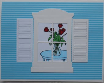 Handcrafted All Occasion Note Card Roses in Window Let Sweet Moments Fill Your Day
