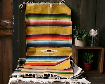 Wool Saltillo Blanket Serape Bohemian Decor Rug Hand Woven in Yellows Reds Bright Color Ethnic Vintage From Nowvintage on Etsy