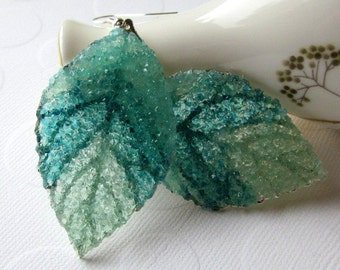 Stained Glass Leaf Earrings Aquamarine Earrings Blue Green Earrings Large Leaves Organic Leaf Jewelry Recycled Glass Jewelry for Cosplay