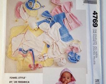 Infants' Bath Robe or Bunting, Kite Wrap, Bibs, Diaper Cover and Bootees UNCUT Pattern McCall's M4769 | All Sizes | Towel Style by Fredrica