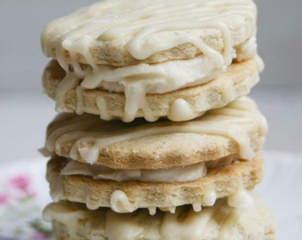 GLUTEN FREE Shortbread Sandwich Cookies with Vanilla Butter Cream Filling with a Vanilla Drizzle (ONE Dozen)