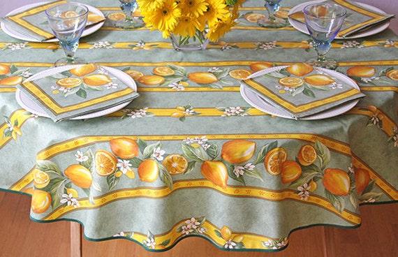 bistro 42 to 60 inch round table cloth provencal lemons green. Black Bedroom Furniture Sets. Home Design Ideas