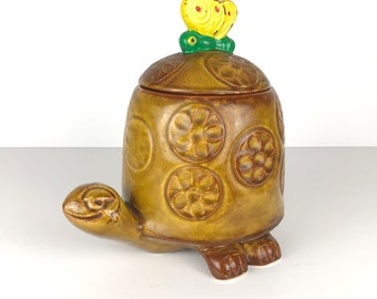 Vintage McCoy Cookie Jar Timmy Turtle and Butterfly / Retro Tortouise Jar / Mid Century Pottery Canister / Boho Brown and Yellow Collectible