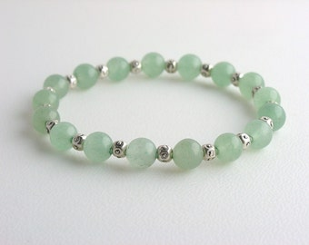 Men's Bracelet in Light Green Stones with Silver Accents / Green Aventurine Bracelet for Men / Simple Bracelet / Stone Bracelet / Guys