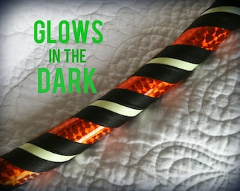 Candy Corn Glow in the Dark Dance & Exercise Hula Hoop COLLAPSIBLE Push Button black neon orange Halloween