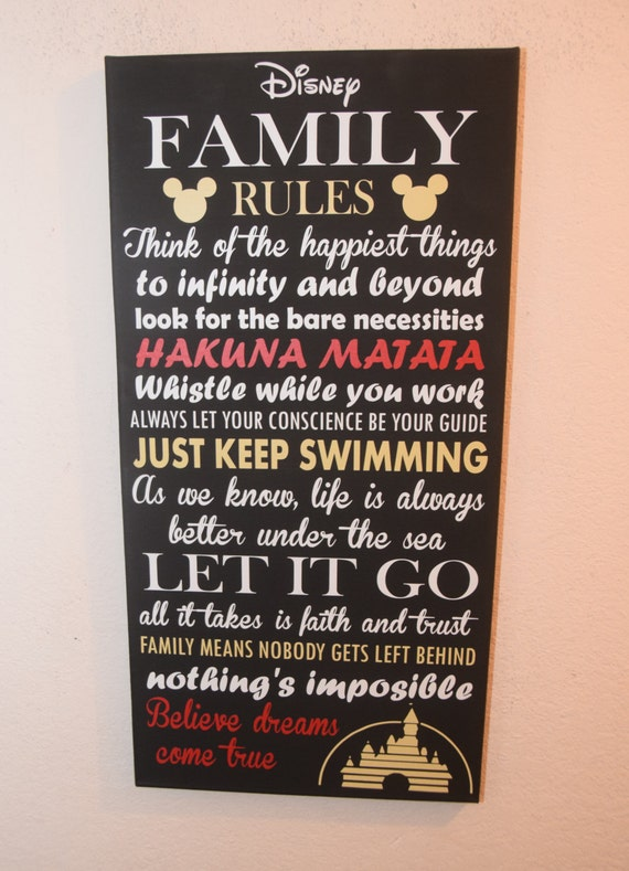 Etonnant Inspirational Quote Sign, Family Rules Sign, Unique Disney Wall Decor,  Canvas Sign, Custom, Wall Art