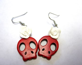 Sugar Skull Earrings Day Of The Dead Jewelry Red Skulls & Roses