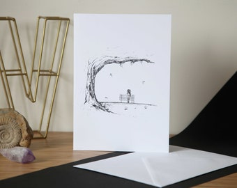 Grief Card - Leaving Card - Sympathy Card - Birthday Card - Mothers Day Card - Cartoon Greetings Card - Greetings Card - Black and White Art
