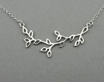 Tree Branch Necklace - 925 Sterling Silver leaves necklace, women, nature lover gift, nature jewelry
