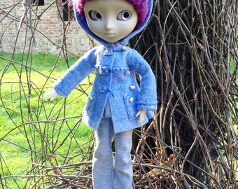 Coat «dufflecoat» with hood «blue frosted», for dolls Pullip