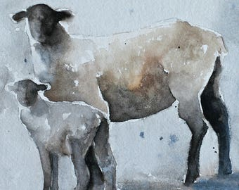 painting of Sheep painting lamb painting watercolour painting watercolor sheep art print sheep print baby room decor wall art square 5x5