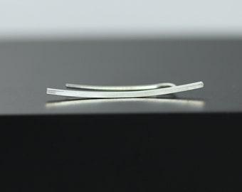 Silver Curved Ear Climber, Sterling Silver Earring, Minimal Bar Ear Jewelry