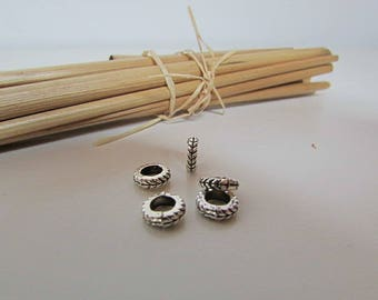 20 bead cord 6 x 2 mm antiqued silver - 4 mm hole - 411.34