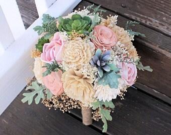 Succulent Bridesmaid Bouquet - Dusty Miller, Sola Flowers, Keepsake Bouquet, Wood Flowers, Faux Flowers, Wedding Flowers