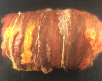 Brown Colourway Textured Art Batt - Hand-dyed Mohair & Wensleydale Locks, Shetland Fleece, Silk
