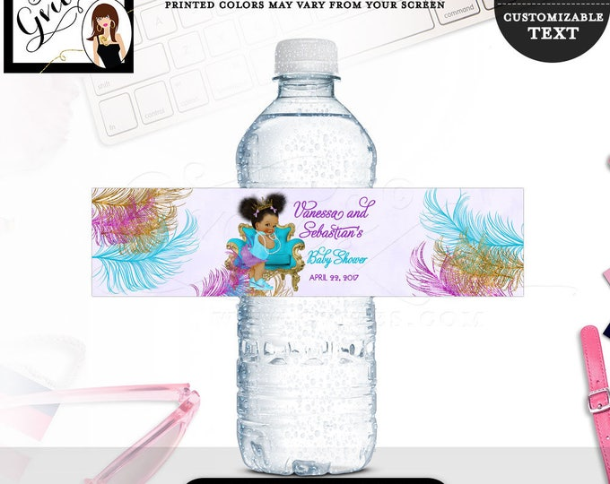"""Purple Turquoise Water bottle labels BABY SHOWER, African American stickers favors gifts afro puffs PRINTABLE 8x2"""" 5 Per/Sheet  #TIAAPC001"""