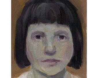 "Girl Portrait oil painting original small 5"" x 7"" people figurative"