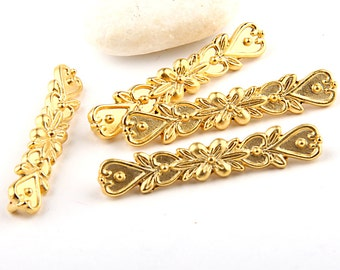 Multi Strand Floral Cord / Bead Slider, 22k Gold Plated, 4 pieces // GFND-0066