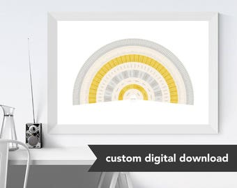 Custom Genealogy Family Tree Chart - Goldenrod Fan (Sophisticated yet Modern with Gold, either Circle Genealogy Chart or Fan Chart)
