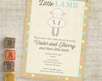 Little Lamb Teal Blue and Kraft Paper Baby Shower Invitations Baby Boy Lamb Custom Invites with Professional Printing Option