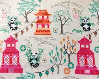 Pagoda Fabric Panda Bear Fabric Lewis and Irene Asian Fabric Chinese Fabric Chinese Pagoda  Theme Fabric Threaded with Love