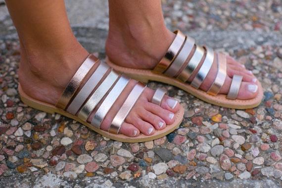Sandales En Cuir Perles Iris Anciens Sandales Grecques YSkNnwl
