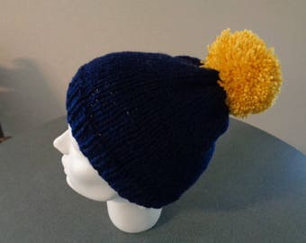 Acrylic Hat adult or teen mixed Navy and mustard